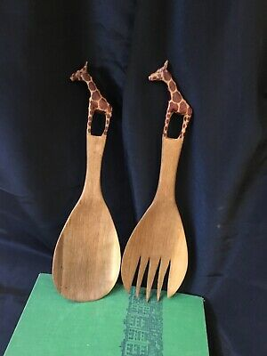 Coconut carved Indonesian Tongs 70/'s Wooden Hand carved  Salad Tongs Wooden Fork Spoon Salad Tongs Vintage Hand Carved Salad Servers