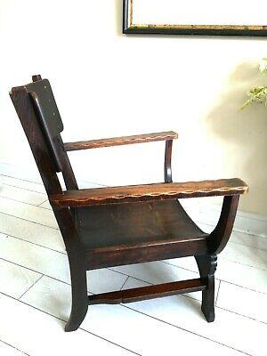 Rare Antique Arts & Crafts Oak Chair Liberty Style X frame bentwood Unique. 11