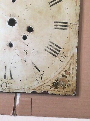 Antique Hand Painted Flower Decorated Iron Grandfather Clock Dial C. 1800's 5
