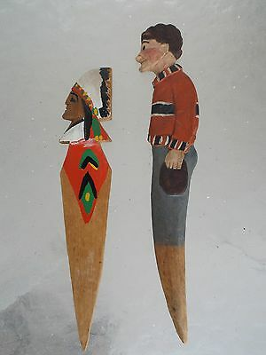 Two.Folk Art Wooden Carved Letter Openers Woman and Indian Chief' 3