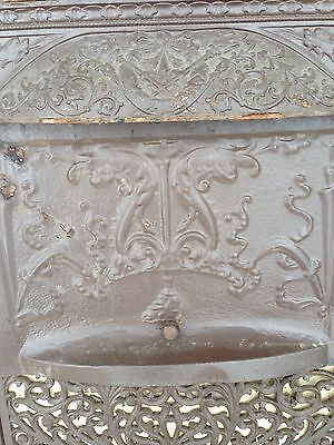 Very Decorative Cast-Iron Fire From Insert With Dragons Antique Ci 12 4