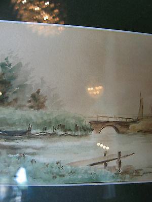 Vintage Antique Early to Mid 20th Cent. Eva West Signed Watercolor of Landscape 3