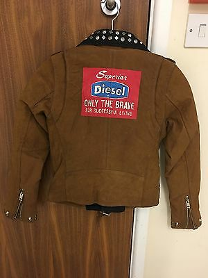 Diesel L-Ulisse Brown Studded Leather Jacket For Boys & Girls 8Yrs Rrp £399 7