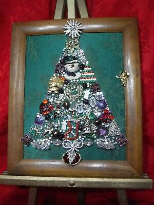 Jewelry Christmas Trees.Vintage Jewelry Christmas Tree Framed And Signed