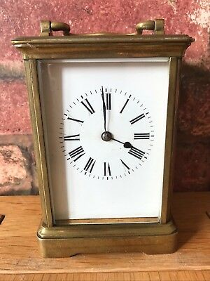 Antique French 1910 Brass & Glass Bevelled Travelling Carriage Mantle Clock 12