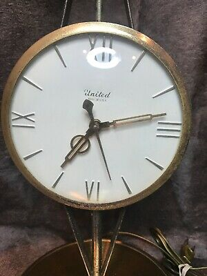 Vintage United Electric Mantle Clock Model 207. Scale Of Justice W/Eagle Finial! 3