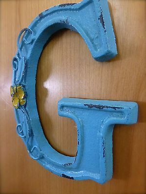 "BLUE CAST IRON WALL LETTER ""G"" 6.5"" TALL rustic vintage decor sign child nursery 3"