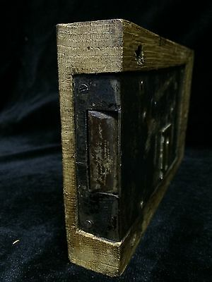 Vintage English Oak Box Lock , Architectural Salvage Knocker Handle Knob Bell 7