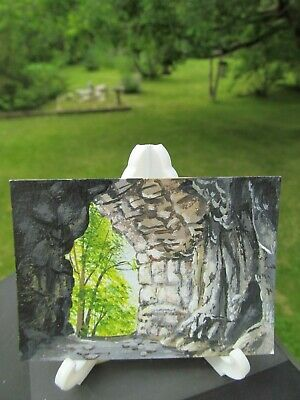ACEO Original Acrylic Painting Landscape Inside The Cave by Artist Joan Hutson 3