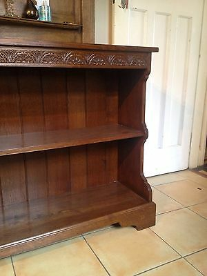A Pair of Solid Oak Bookcases / Dressers Lunette Carved Cornice Maker Stamp 5