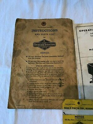 Vintage Briggs & Stratton Engine Operating Instructions Booklet Model 6B-H 6B-HF 2