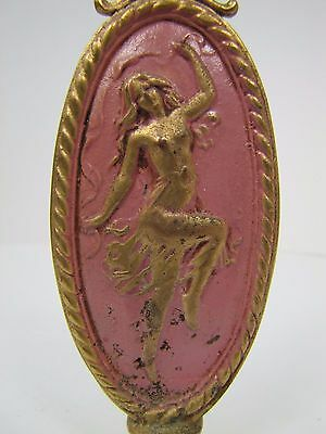 Antique Art Nouveau Finial partially nude dancing lady nymph brass gold pink 6