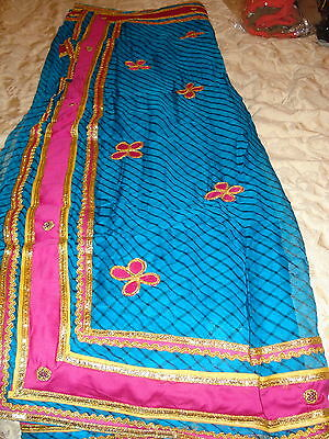 Ladies / Girls Striped Chiffon Saree With Contrasting Border And Blouse 4