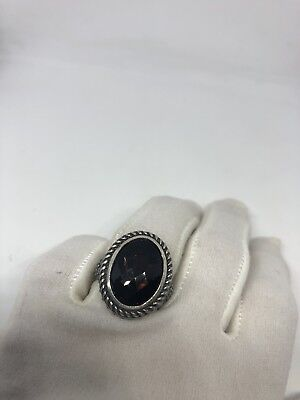 Vintage Genuine Brown Smoky Topaz Matte 925 Sterling Silver Deco Size 7 Ring 4