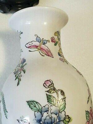 🔅 chine vase a décor oiseaux, papillons, floral à identifier 10