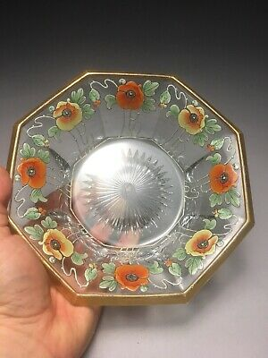 Incredible Heisey Glass Art Nouveau Poppies Flower Decorated Bowl 8