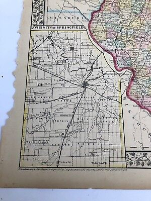Antique Augustus Mitchell 1871 Map the State of Illinois 4