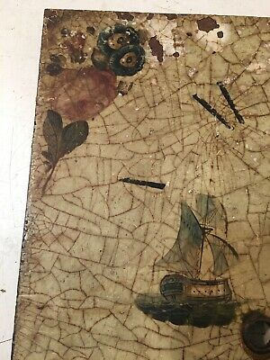 Crusty Antique Grandfather Clock Dial With Painted Tall Ships & Flowers 5