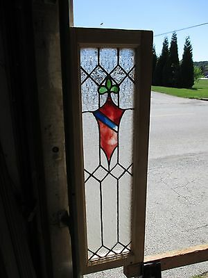 ~ ANTIQUE AMERICAN STAINED GLASS WINDOW ~ 12 x 37.5 ~ ARCHITECTURAL SALVAGE 5