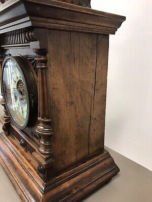 Victorian Black Forest Golden Oak 14 Day Mantle Clock By H.a.c. Working. 7
