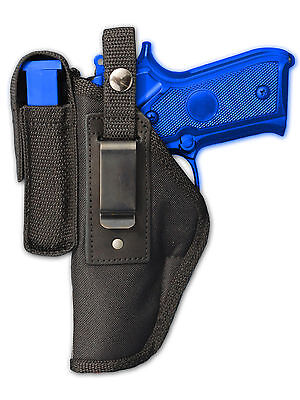 New Barsony Brown Leather OWB Holster Mag Pouch FN Glock Full Size 9mm 40 45