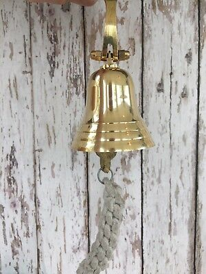 Solid Brass Ship Bell w/ Rope Lanyard & Bracket ~ Hanging Wall Decor ~ Nautical 2