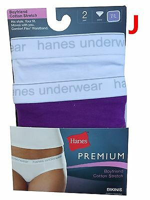 25fe853823a4 ... Hanes Premium P242AS Women's Panties BIKINIS Boyshorts Cotton Strech 2- Pack NWT 10