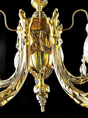 Antique French Louis XV style bronze and glass chandelier 7 • CAD $620.83