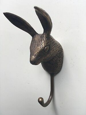 2 small rabbit COAT HOOK solid aged pure brass antiques old style 12 cm hook B 8