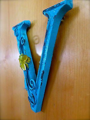 "BLUE CAST IRON WALL LETTER ""V"" 6.5"" TALL rustic vintage decor sign child nursery 3"