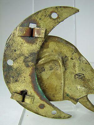 Old Figural Elephant Moon Hanger Hook Bracket swivel pivot brass bronze hardware 11