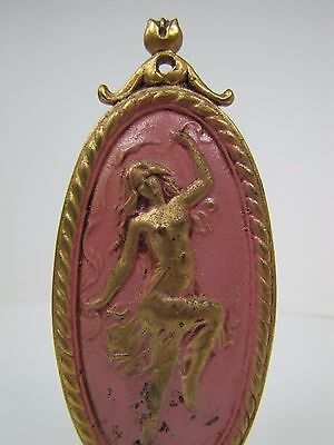 Antique Art Nouveau Finial partially nude dancing lady nymph brass gold pink 7