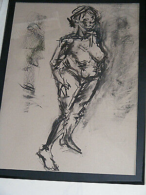 Figure life drawing nude expressive, charcoal / paper, woman standing, A1 size @ 6