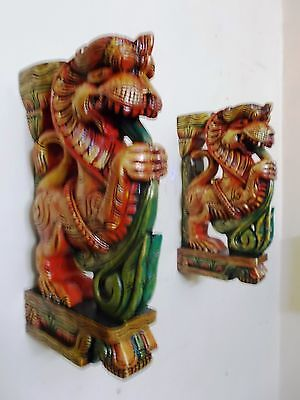 Beautiful Yalli Wooden Bracket Hindu Temple Corbel Pair Architectural Design New 3