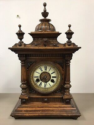 Victorian Black Forest Golden Oak 14 Day Mantle Clock By H.a.c. Working. 4