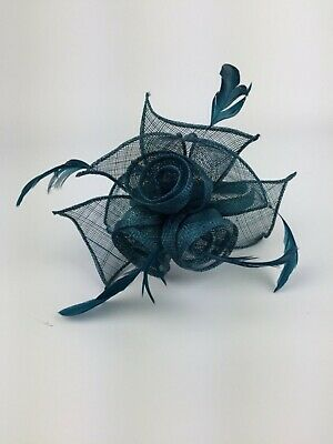 Teal Fascinator On Headband Teal Blue Green Wedding Occasion Races Ascot Races 8