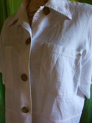 XL belle veste blanche en lin  femme ou longue mariniére 2