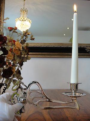 Klavierleuchter Kerzenleuchter Kerzenhalter Jugendstil Silber Antik Möbelleuchte 2