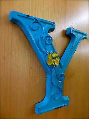 """BLUE CAST IRON WALL LETTER """"Y"""" 6.5"""" TALL rustic vintage decor sign child nursery 2"""
