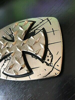 Unique Cross Belt Buckle by Chrome Numbered Silver Tone and Black Dimensional 2