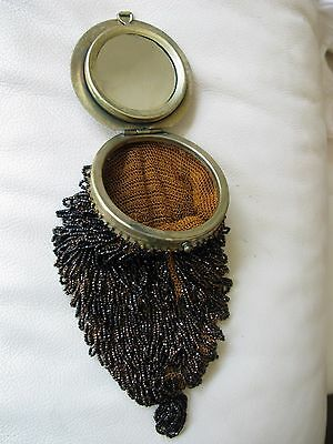 Vintage Antique Gold Tone Frame Amber Knit Crochet Brown Black Iridescent Bead Purse Bags, Handbags & Cases