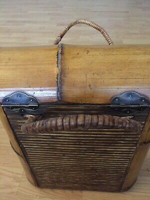 """Champagne Wine Display Box Wooden Carrier Handle 2 Bottles Bamboo Brass 14/""""x10/"""""""