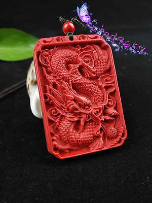 Chinese Natural Red Organic Cinnabar Dragon Necklace Pendant Lucky Amulet Hot RN 2
