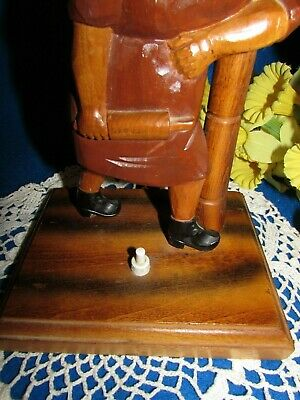 """Vtg Hand Carved Wood Women W Rolling Pin On A Metal Lamp Post Top Table Lamp 19"""" 3"""