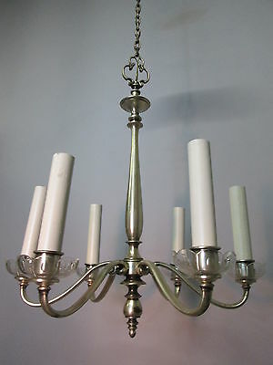 "Vintage Antique Silver Plate Chandelier Tudor Neo Classical Rewired 6 Arm 40"" 2"