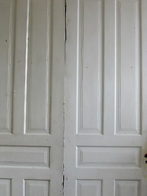 Double Five Panel 1890's Painted White Oversized Doors Architectural Salvage 4