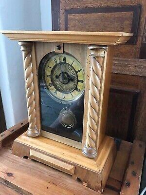 Rare Antique Wurttemburg German Beech Cased Mantle Bracket Clock 9