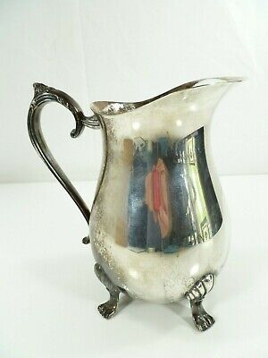 """Vintage Leonard Silver Plate Footed Water Pitcher with Ice Lip 8 1/2"""" Patina 11"""