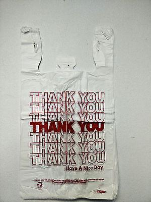 "THANK YOU T-Shirt Bags 11.5"" x 6"" x 21"" White Plastic Shopping bag 50 - 1000 3"