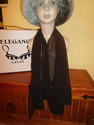 1 NEW Mixed Fibre Ladies Scarf CLASSY PLAIN BLACK ~ Gift Idea #97 2
